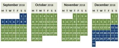Aer Lingus Avios off peak calendar 2018_3