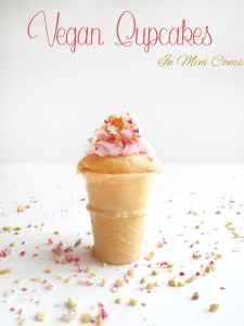 How do you make Vegan Cupcakes even better? Use Mini Cones as the base instead of cupcake paper. This is the best comfort food recipe ever. Part of Cook For The Cure and 10,000 Cupcakes