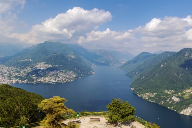 view of Lugano lake from Monte San Salvatore, Switzerland