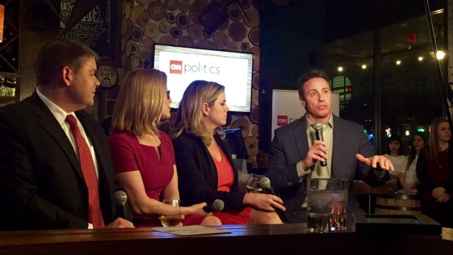 Chris Cuomo hosting a political debate at the CNN Politics on Tap Even in Houston, TX