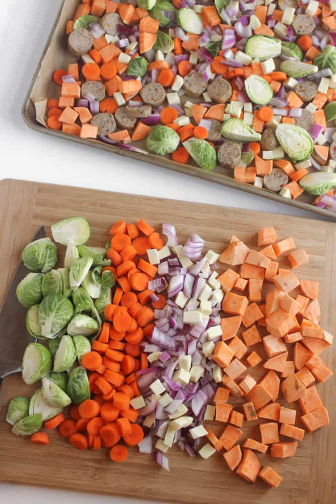 One-Pan Chicken Sausage & Roasted Veggies- an easy & healthy meal with practically no clean-up!