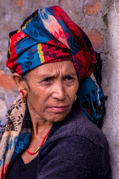 Nepalese Woman with colorful head wrap