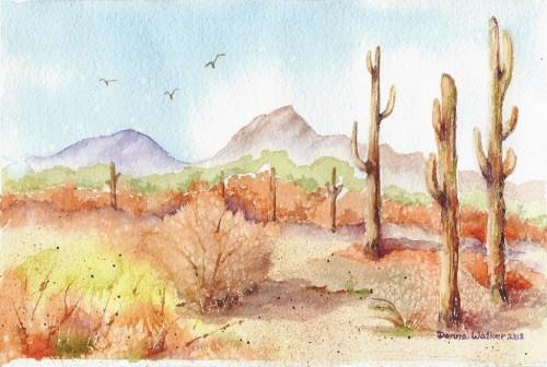Watercolor of Desert scene by Donna Walker