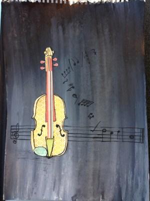 Terezin hand cut paper violin 2