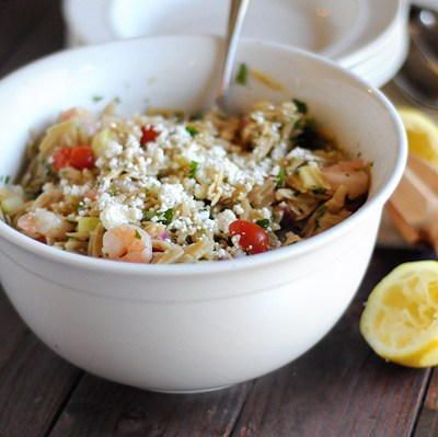 Greek Shrimp Orzo Salad, Chili-Roasted Vegetables and Bacon Cream Cheese Biscuits