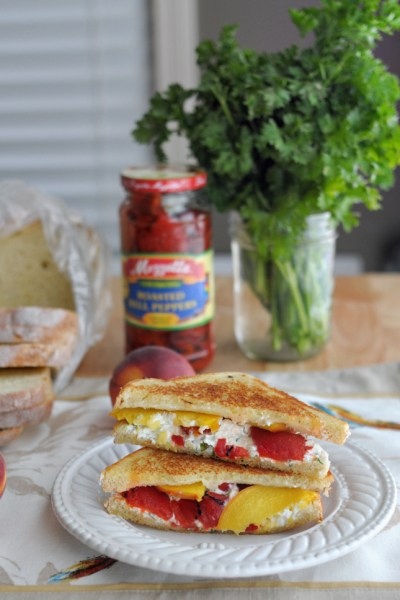 Grilled Herbed Goat Cheese, Fresh Peach + Roasted Red Pepper Sandwich
