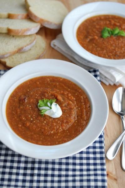 Summer Market Soup + Garlicky Greek Yogurt