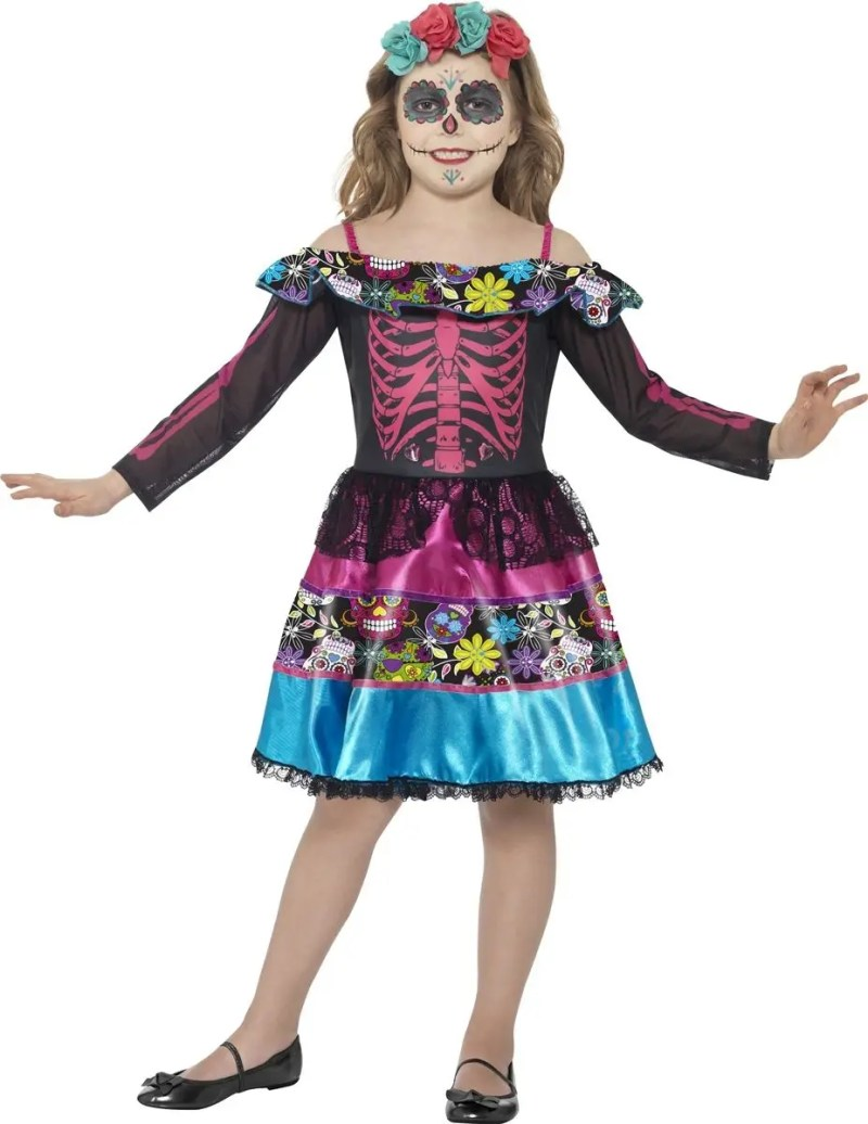 nifty dead dress up day dead girls costume mexican sugar skull kids
