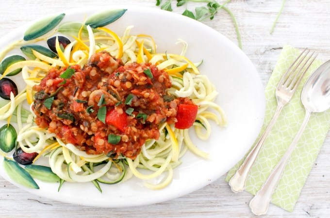 Re-Energizing Lentil Bolognese with Zucchini Noodles