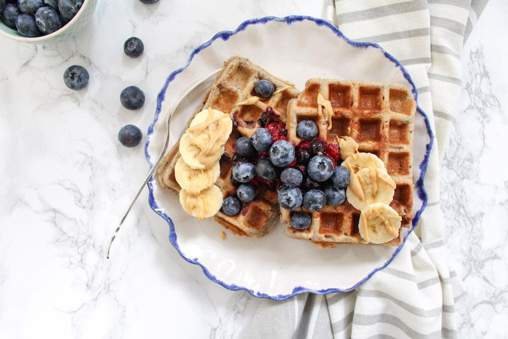 Healthy Blueberry Buckwheat Waffles with Berry Chia Sauce - plant based, gluten free, vegan, refined sugar free - heavenlynnhealthy.com