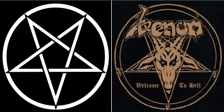 comparison between traditional Satanic symbol and inaccurate heavy metal Satanic symbol