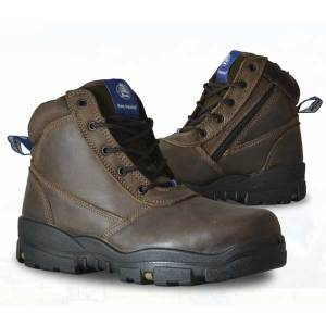 Bata Helix Horizon Brown Safety Boot With Zip