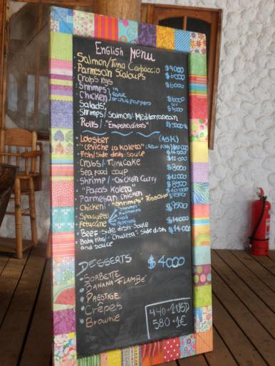 La Kaleta Easter Island chilean menu