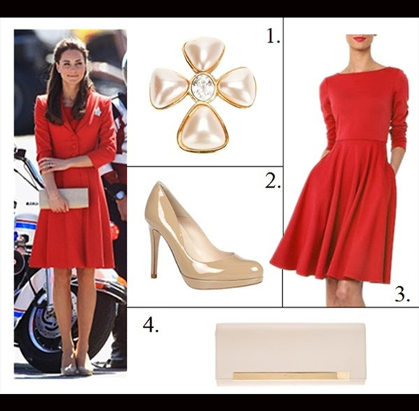 Catherine walker red coat dress a - Leaf Brooch On Kate Middleton Catherine Walker Red Coat Dress