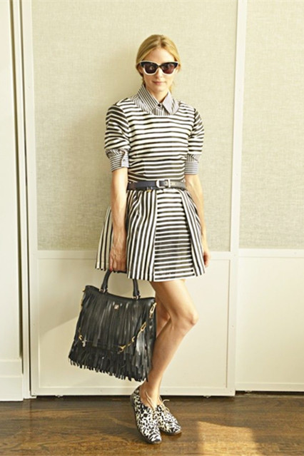(Spring)/Summer Outfit Ideas 2014; Celebrity street style; how to wear black and white; how to wear stripes