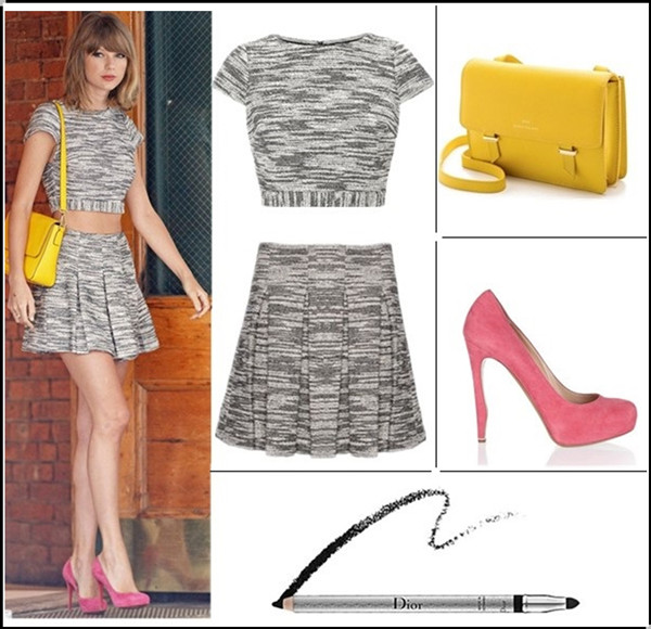 How to wear crop tops at any ages; Fashion trend: Matching pieces Clockwise from top left:  Alice + Olivia crop top (also here; similar here) & matching  Skirt - Davis Pleated Tweed (also here & here here)  bag: Karen Walker Benah for Karen Walker Sloane Mini Satchel (similar here  here)  Shoe: Nicholas Kirkwood bright-pink Fawn pumps  Dior Crayon Waterproof Eyeliner (investment-worthy here!)