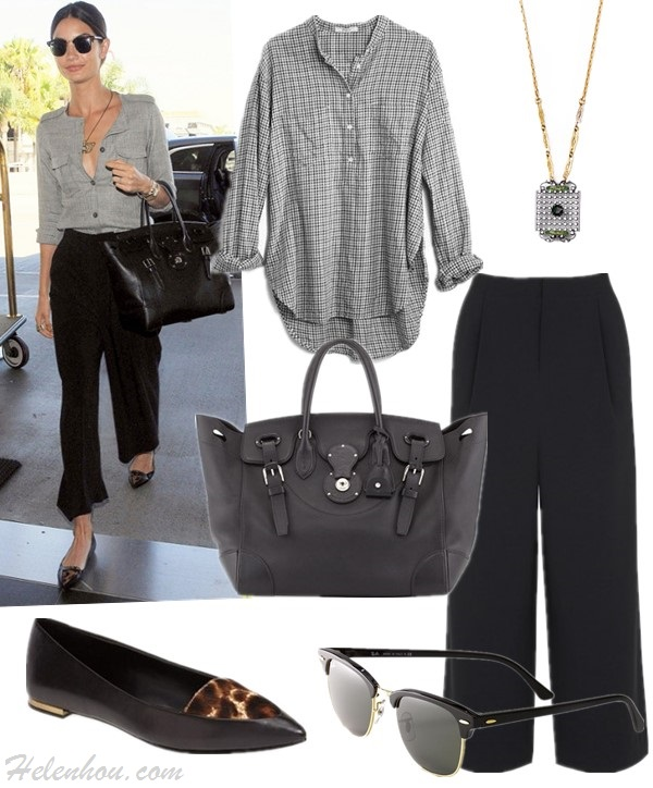 celebrity airport style; model's off duty look; how to wear wide leg pants; how to wear the sport trend,  Top: Madewell collarless popover in elmhurst check  Necklace: Lulu Forest necklace  Pants: Elizabeth and James Trenton Trousers (yes, it's the pair on Aldridge; also here)  Sunglasses: Ray-Ban 'Clubmaster' 49mm Sunglasses  Bag: Ralph Lauren Soft Ricky 33 Soft Calfskin Satchel Bag, Black (adore the apple green leather lining! similar here & here)  Shoe: Aerin 'Imogen' Pointy Toe Skimmer Fla t (Women) (also available here; on Aldridge here!)