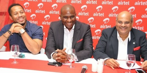 (l-r) Nollywood Actor and Airtel's Come Alive Ambassador, Mike Ezuruonye, CEO/MD, Airtel Nigeria, Segun Ogunsanya and Chief Operating Officer and Executive Director, Deepak Srivastava savouring a moment at the media launch of Airtel's new thematic campaign, Come Alive, in Lagos on Wednesday.