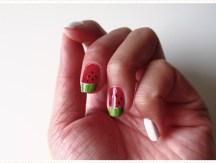 <span>Nail art</span> Blanc pastèque