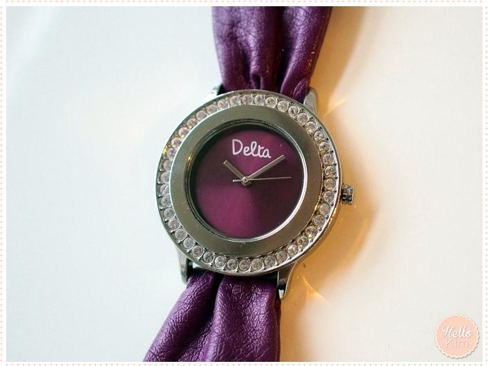Montre Delta Violet avec cadrant entouré de Strass - Vue face - HelloKim