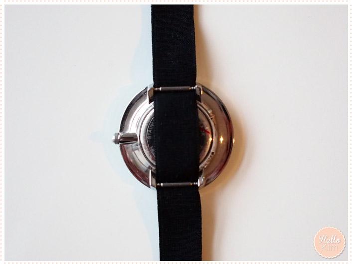 Montre bijoux bracelet ruban noir Delta - vue dos - HelloKim