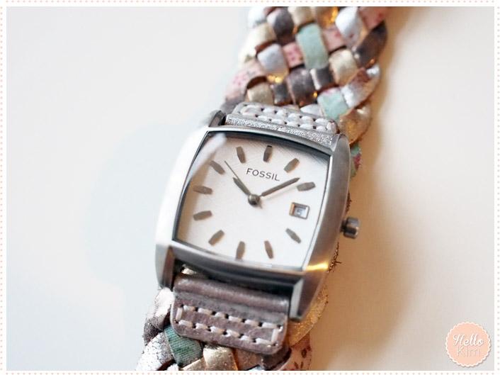 Montre Fossil bracelet tressé couleur pastel cadrant carré - Vue face - HelloKim