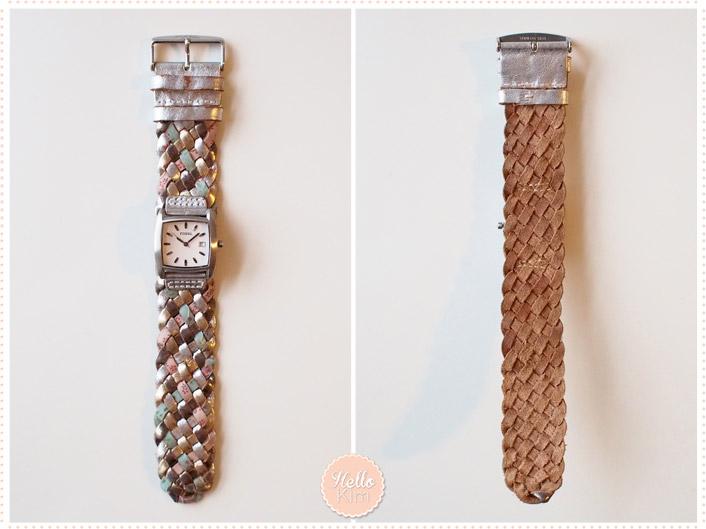 Montre Fossil bracelet tressé couleur pastel cadrant carré - Vue face et dos - HelloKim