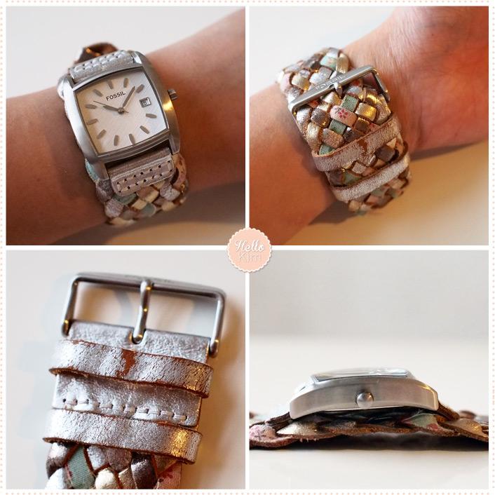 Montre Fossil bracelet tressé couleur pastel cadrant carré - Détails - HelloKim