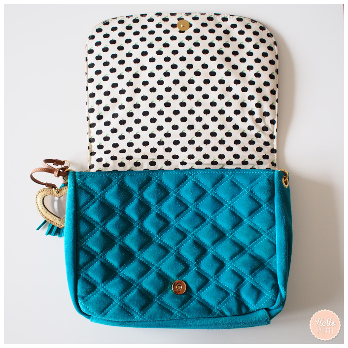 Sac hello Kitty by Victoria Couture en cuir turquoise - vue rabat relevé >> HelloKim