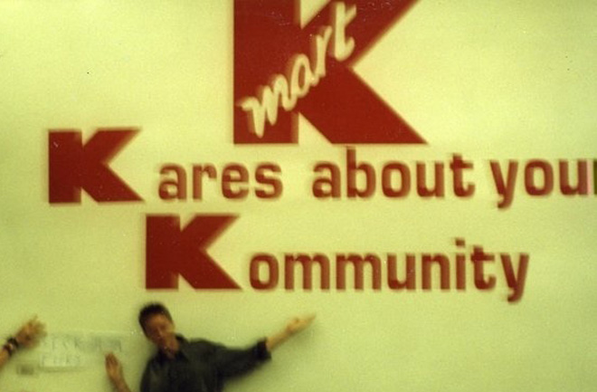 K-mart Kares about the Kommunity spells out KKK.