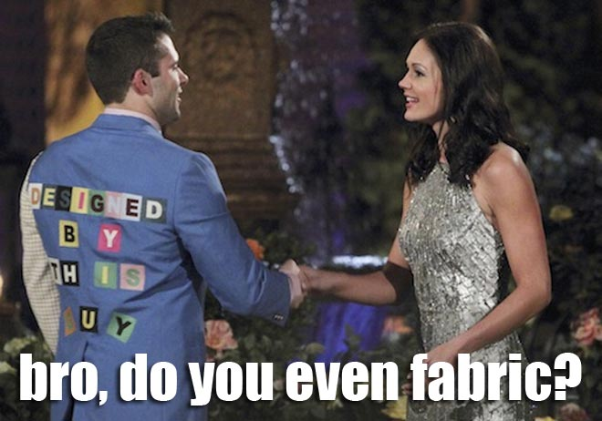 Micah wears an awful suit he designed himself on the Bachelorette.