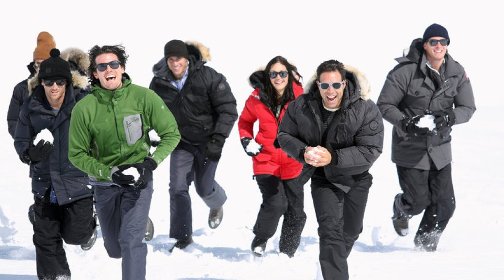 Desiree and the Bachelors have a snowball fight in Munich on the Bachelorette.