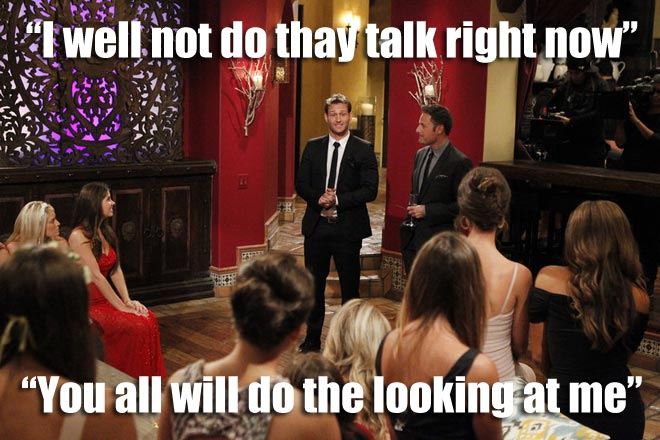 Bachelor Juan Pablo talks to the 27 Bachelorettes.