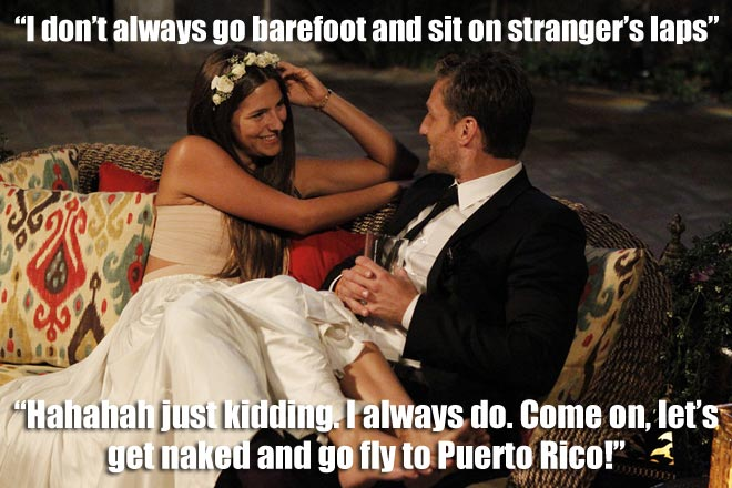 LUCY sits on the Bachelor Juan Pablo's lap.