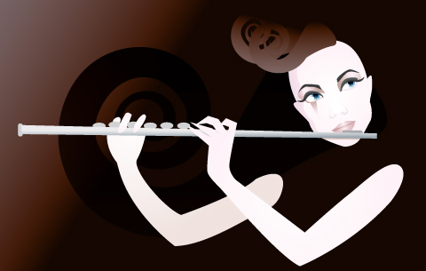 Flute player illustration