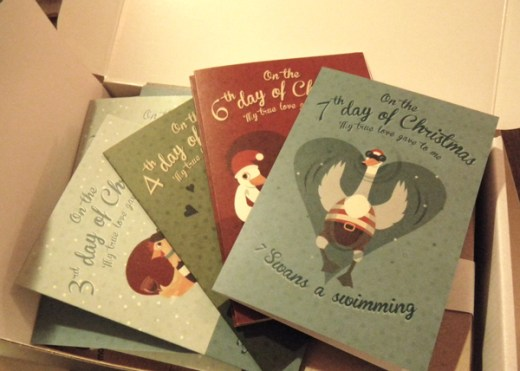 Christmas cards in their box