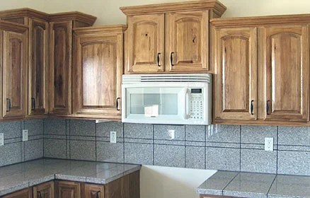 Hickory Kitchen Cabinets With Stone Tile Backsplash Hickory Wood81