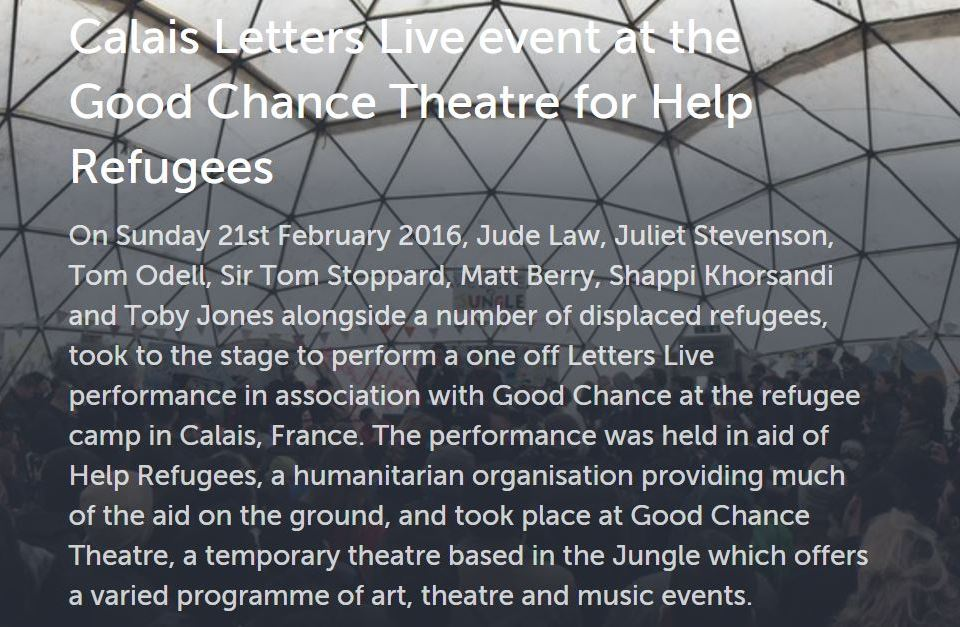 Calais Letters Live event