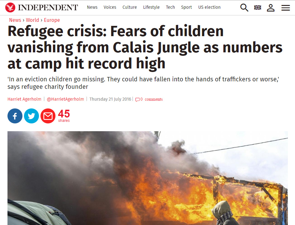 Refugee crisis Fears of children vanishing from Calais Jungle as numbers at camp hit record high  -  The Independent