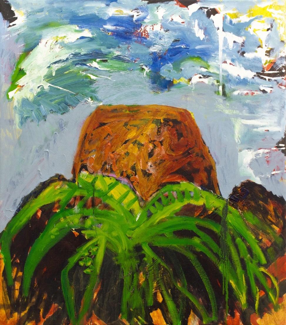 Palm, MesaOil, housepaint, spraypaint, oil-bar on canvas. 78cm x 86cm.