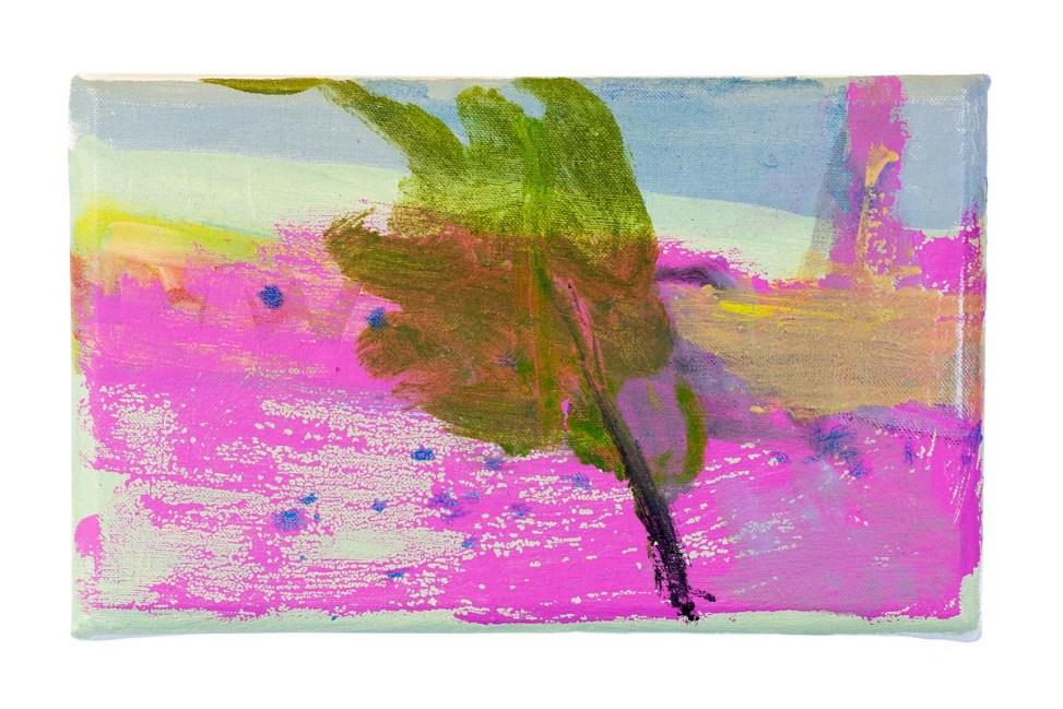 Tree In A Storm Oil, housepaint, on canvas. 33cm x 20cm.