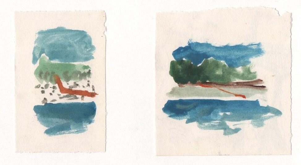 Orange Diagonals (Istria). Watercolour on paper.