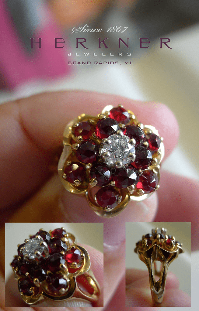 14k Diamond and Garnet Ring set in 14k