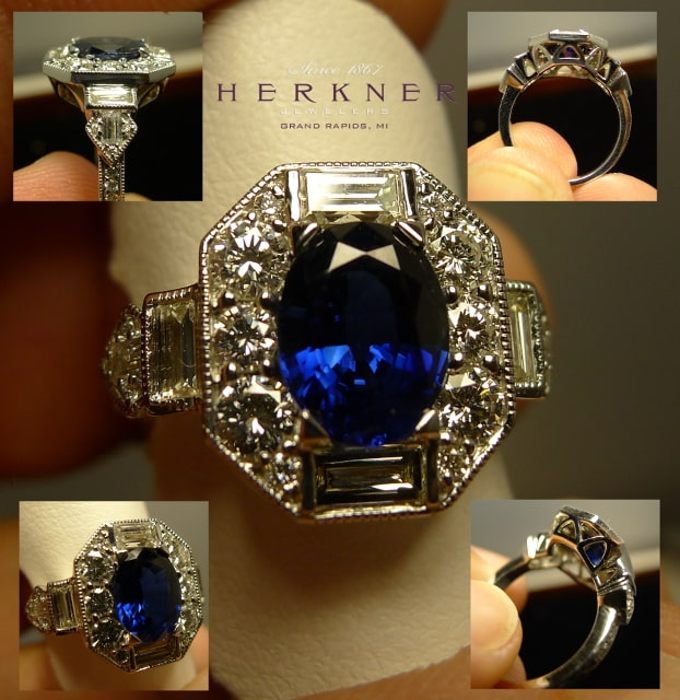 Custom Designed Sapphire and White Gold ring