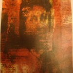 Gloria Anzaldua mixed media transfer