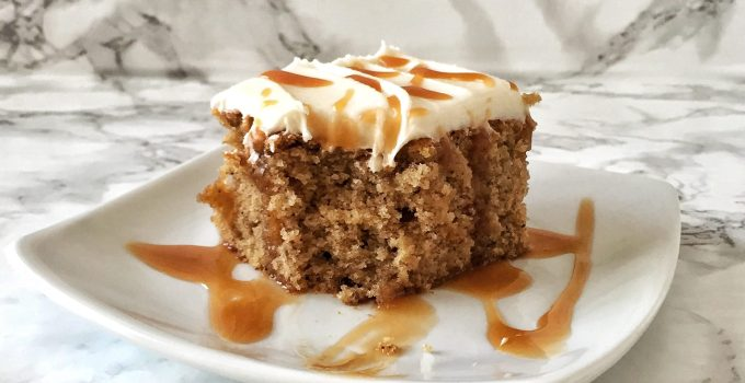 Salted Caramel Bananas Foster Cake featuring Dollop Gourmet Frosting