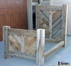 Rustic barnwood chevron bed plan