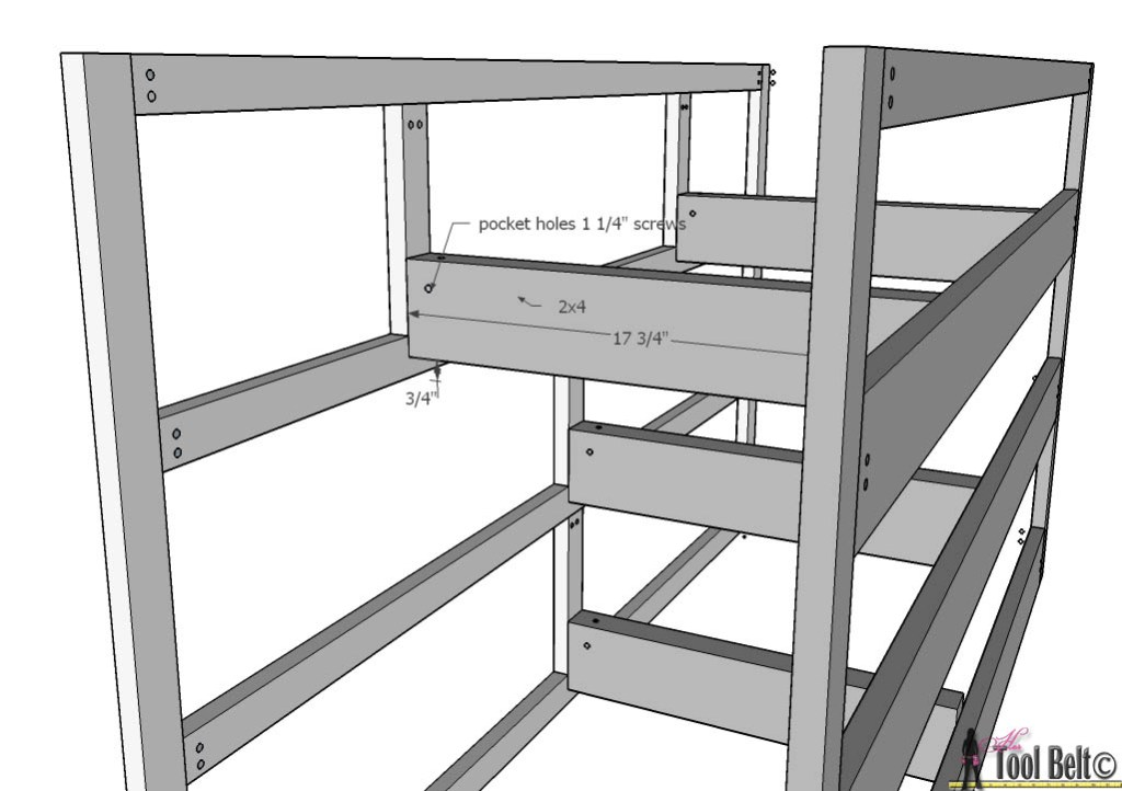 7 drawer dresser-rail supports
