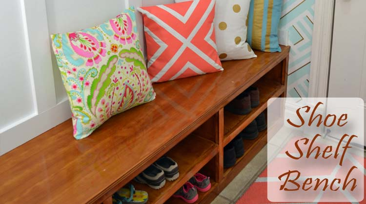 Shoe shelf bench feature