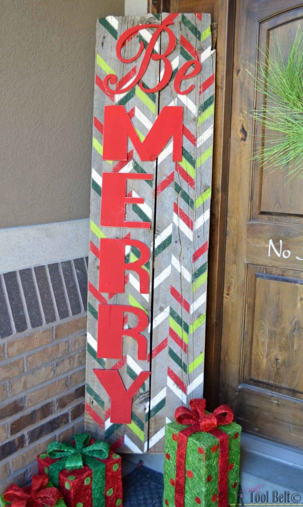 Be Merry rustic Christmas sign - use the herringbone shuffle stencil to create a festive statement piece for your holiday decor.  #royaldesignstudio